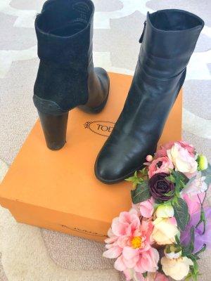Tods Tod's Stiefeletten Boots schwarz Leder echtleder 37 38 37,5 blockabsatz trecksohle