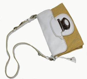 TODS Tod´s Tasche Leder Leinen weiß ocker