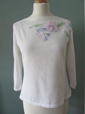 Together Pullover weiß mit Blütenverzierung Gr. 40