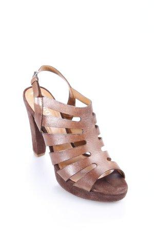Togo High Heel Sandaletten braun Materialmix-Look