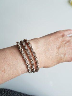 Tokyo Jane Armband Naima Triple Kette mit Lederband grau-silbern NP. 34,95€
