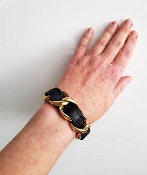 Tokyo Jane Panzerkette Armband Naomi Linked Metall-Leder Gold-Schwarz Neuwertig