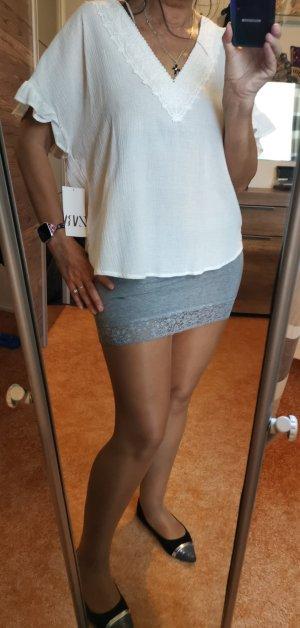 Zara Blusa ancha blanco Algodón