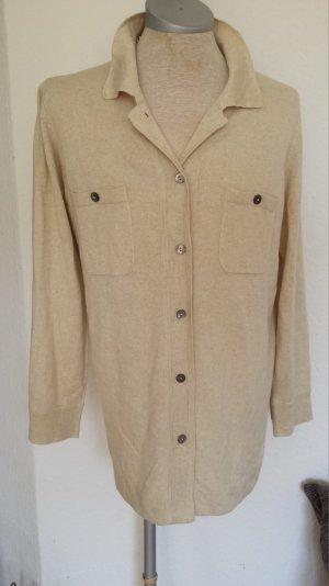 Toll Madeleine Strickjacke Pullover Polo Kaschmir Seide Natur Beige W. Neu 38 40