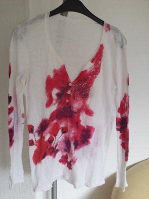 Toll Marc Aurel Pullover Weiß Pink Strass leicht große 36 S