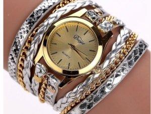 Tolle Armbanduhr silberfarben und goldfarben mit langem Kettenarmband