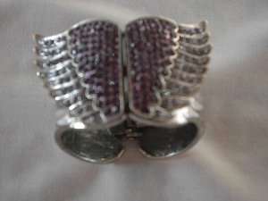 Armlet silver-colored-brown violet stainless steel
