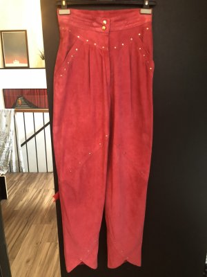 Escada Leather Trousers raspberry-red