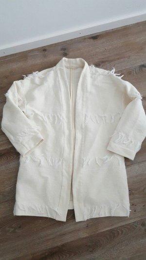 Esprit Blazer de tela de sudadera blanco puro