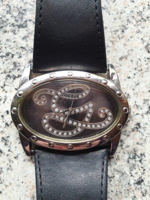 Guess Reloj con pulsera de cuero negro-color plata