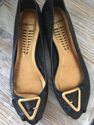 Bronx Bailarinas con tacón con punta abierta negro-color oro