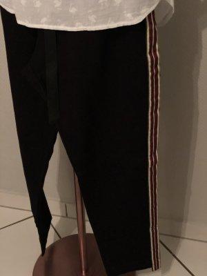 Pantalon de jogging noir-rouge carmin tissu mixte