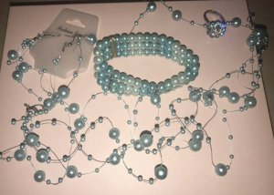 Tolle Blau Accessorize Set Ring Armband Ohrringe Halskette 32 cm