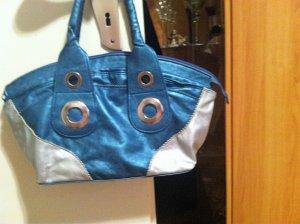 Borsa telaio blu-argento Finta pelle
