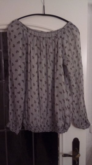 0039 Italy Zijden blouse lichtgrijs-donkergrijs Zijde