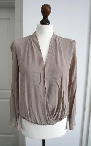 Zara Blusa cruzada marrón grisáceo