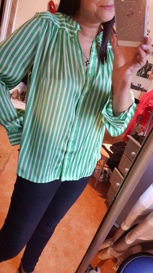 H&M Blusa brillante verde neón-blanco