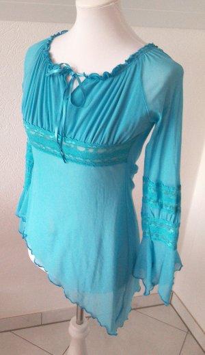 tolle Bluse, orientalisches Shirt, asymmetrisch,blau,Gr.36/S