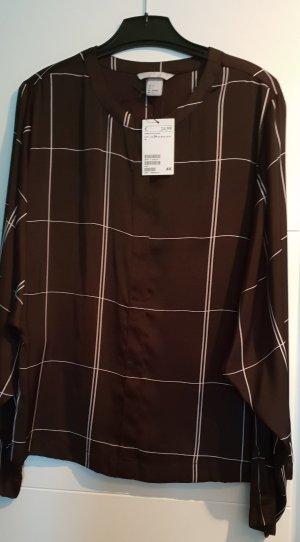 Tolle Bluse von H&M seidig schwarz weiß Karo - Gr. 34 NEU OP 24,99