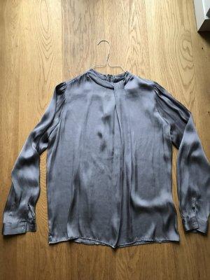 Zara Woman Blouse à col montant gris foncé polyester
