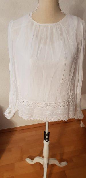 tolle Bluse weiss mit Spitze gr.42 gr.L von Zara