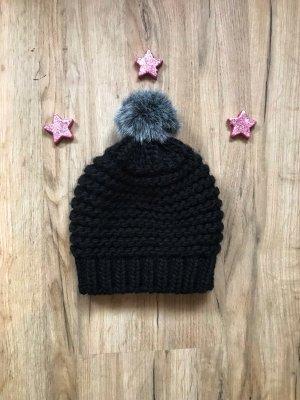 Street One Chapeau en tricot noir-gris