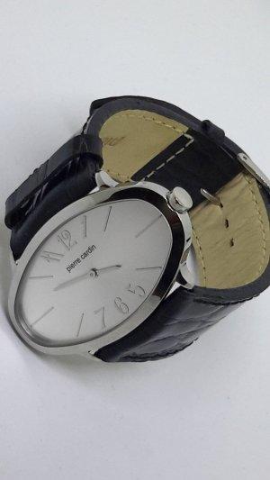 Pierre Cardin Orologio con cinturino di pelle nero-argento