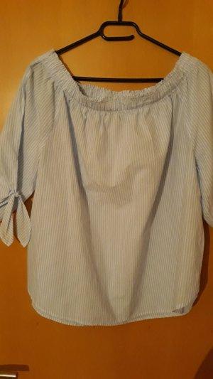 H&M L.O.G.G. Carmen Blouse white-azure cotton