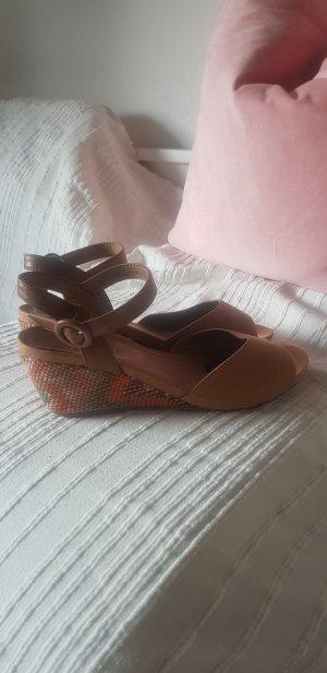 Sandales à talons hauts et plateforme marron clair-orange clair