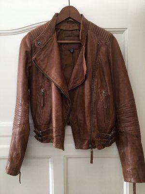 Tolle cognac-farbene Leder Jacke von Mango, Größe S