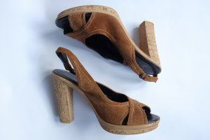 Platform High-Heeled Sandal cognac-coloured
