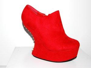 Tolle Damen Leder Ankle Boots - Wedges in rot von Jennika Gr. 37