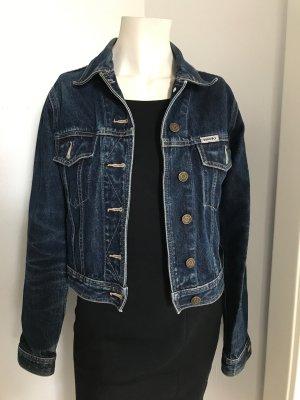 Topshop Denim Jacket dark blue-blue cotton