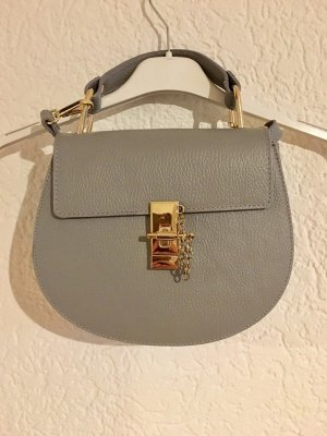 Tolle echtleder handtasche tasche bag in grau umhängetasche gold