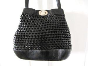 Tolle Edel Flecht-Tasche von Bodenschatz Echtes Leder Schwarz Vintage Look
