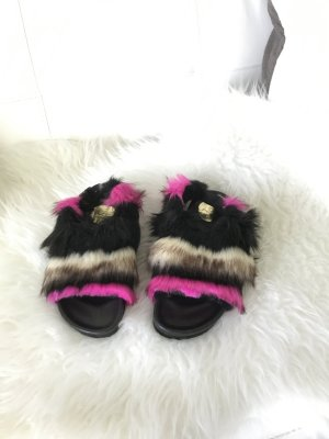George J. Love Strapped Sandals multicolored fake fur