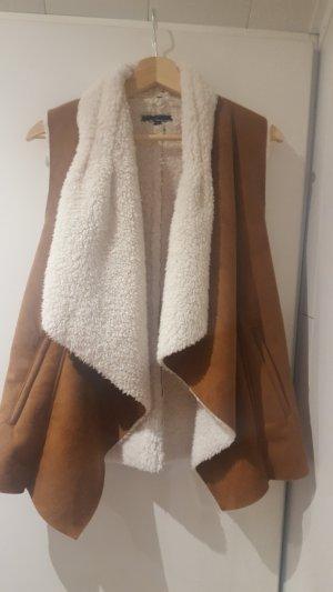 Tally Weijl Fake Fur Vest brown-natural white