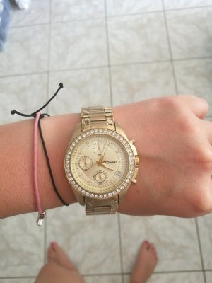 tolle Fossil uhr in gold