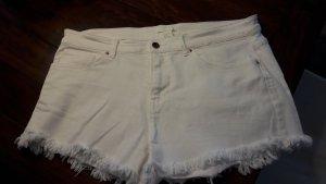 H&M Short en jean blanc cassé coton