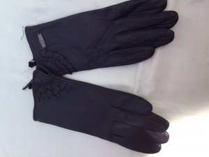 Leather Gloves dark violet leather