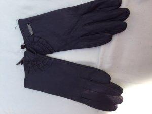 Leather Gloves dark violet leather