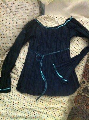 Xanaka Blouse brillante bleu pétrole-vert foncé tissu mixte