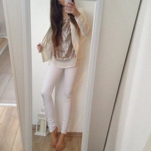 Tolle glitzernde Bluse H&M gold weiß nude 36 34 glitzer Chiffonbluse