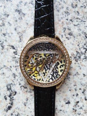Guess Orologio con cinturino di pelle nero-oro