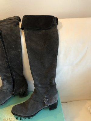 Tolle graue Overknee Stiefel von Walter Bauer in Rauleder