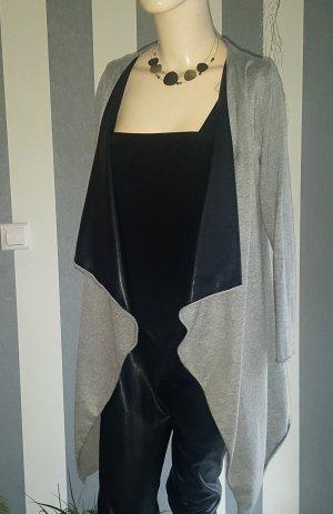 Zara Gilet long tricoté noir-gris tissu mixte