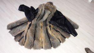 Abrigo de piel negro-marrón-negro
