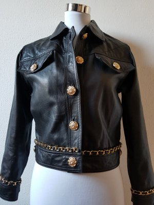 Gucci Leather Jacket black-gold-colored