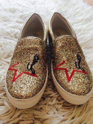 Tolle Guess Schuhe Glitzer wie neu Gold