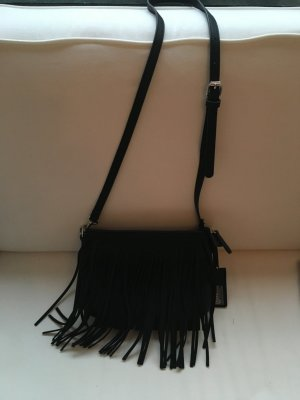 Tolle Hallhuber Fransenhandtasche zu verkaufen, schwarz, blogger-style